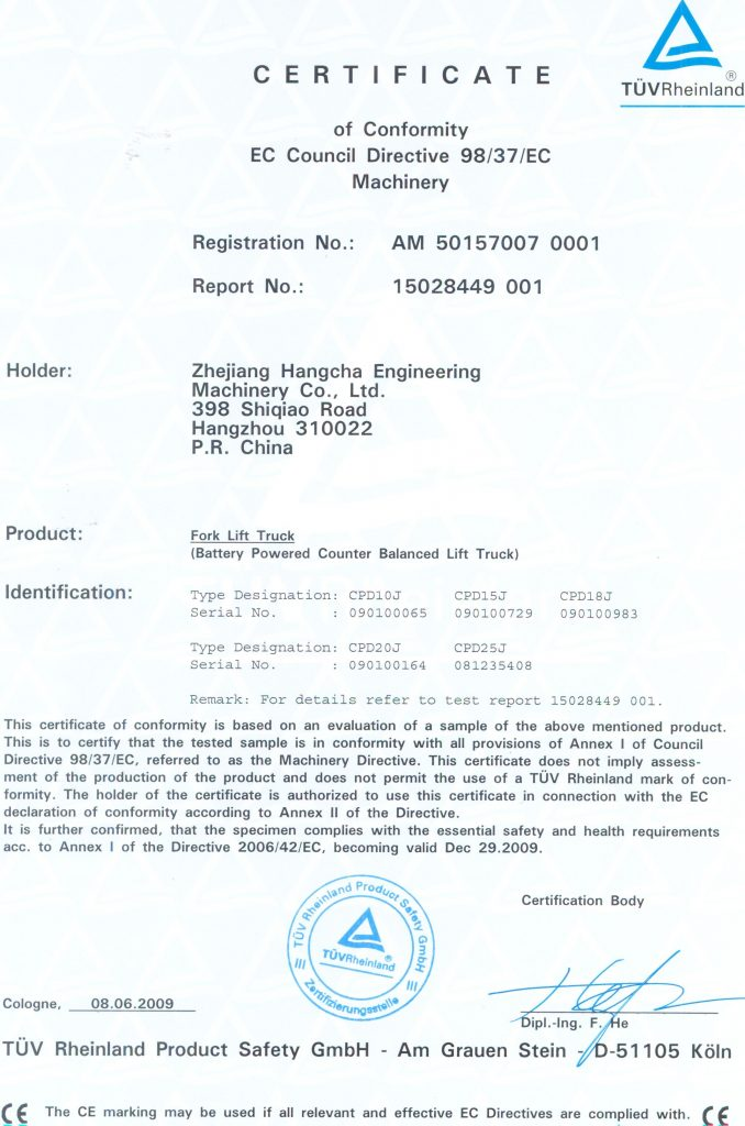Certificates Downloads Forklifts In Cyprus Yembedjis And Sons Ltd